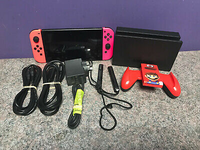 Nintendo Switch Console Neon + Mario Accessories Working