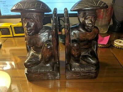 Vintage Carved Wood Bookends Tribal Themed with Large foot as book stop