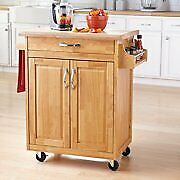 Kitchen Island Cart Natural Solid Wood Top Utility Cabinet Spice Rack On Wheels
