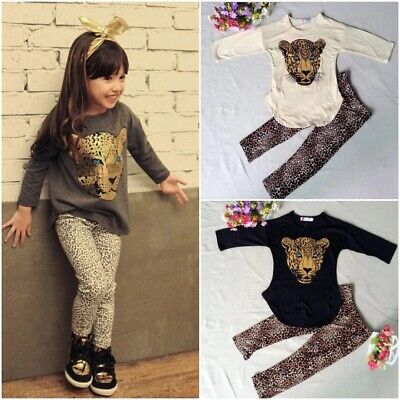 Autumn Leopard Print Girls Pajama Set Toddler Outfits Two Piece Girls Sleepwear