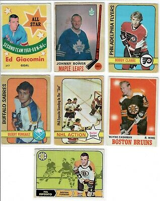Lot of 7 1968-69 1969-70 1970-71 1972-73 O-Pee-Chee Hockey OPC