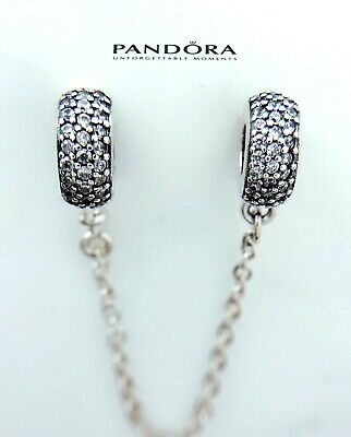 Authentic Pandora Silver 925 PAVE Inspiration SAFETY CHAIN Charm791736