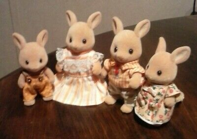 Calico critters/sylvanian families/ Kangaroo family 4 dressed in orange Clothes