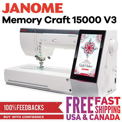 Janome Horizon Quilt Maker Memory Craft 15000 Sewing Machine and Embroidery Unit