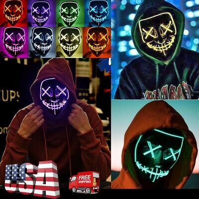 3Modes Light Up LED EL Wire Purge Scary Mask Halloween Cosplay Bar Costume Mask