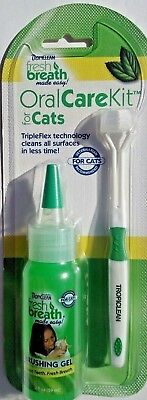 Tropiclean Fresh Breath Oral Care Kit For Cats ~ Toothbrush & Brushing Gel Usa