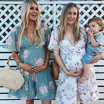 Womens Casual Summer Maternity Dress Chiffon Floral Daily Party Beach Dresses