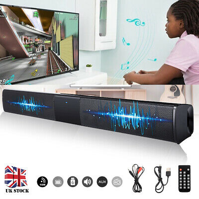 Wireless Bluetooth TV Soundbar 4 Speaker 3D Sound Bar Subwoofer RCA w/ Remote