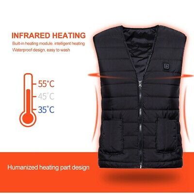 USB Electric Vest Heated Cloth Jacket Thermal Heating Pads Winter Body Warmer