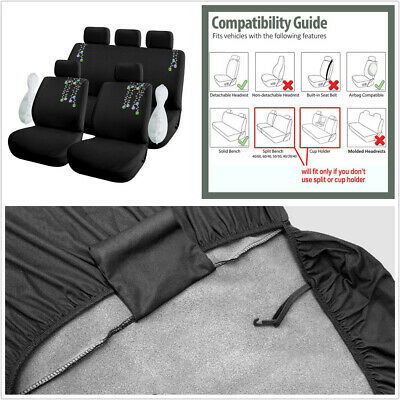 NEW Embroidery Durable Polyester Cloth 5-Seats Car Seat Covers Protector Cushion