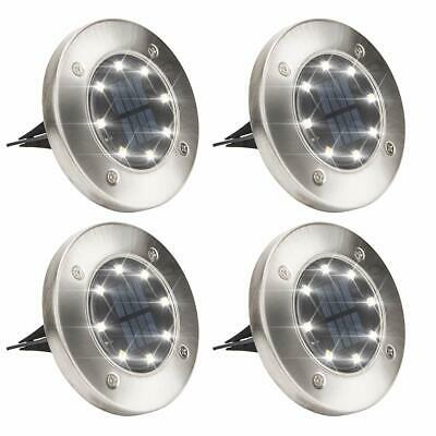 Solar Powered Disk Lights,8LED Solar Pathway Lights Outdoor Waterproof (4 Pack)
