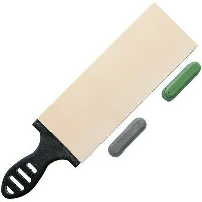 Garos Goods BE3-BLK-COMP-BG Green Nylon Handle Double Sided Leather Strop