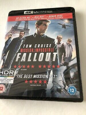 Tom Cruise Mission Impossible Fallout 4K Ultra Hd + Blu Ray + Bonus New Sealed