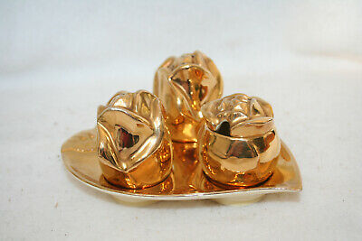 Vintage 1940's Gold or Gilt Cruet Set in the shape of Roses A/F (74)