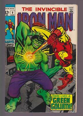 Iron Man # 9  There Lives a Green Goliath !  grade 9.0 scarce book !