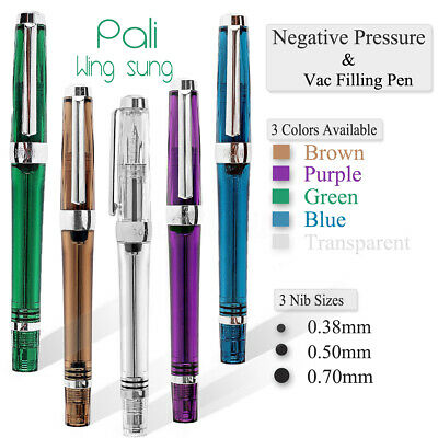 Wingsung 3013 Paili 013 Vaccum Filling Fountain Pen EF/F Nib Transparent Ink Pen