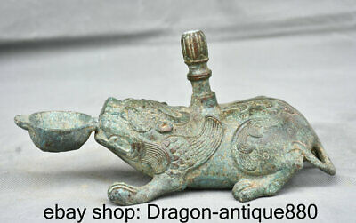 """9"""" Old Chinese Bronze Ware Dynasty Palace Fly Beast Candle Holder Candlestick"""