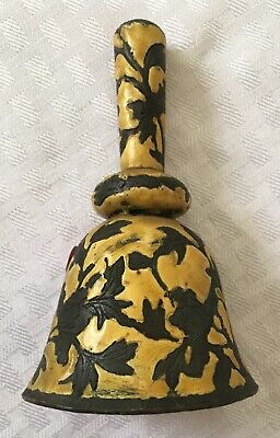Antique Chinese Yellow Enamel Bell With Glass Bead Clapper 4.5""