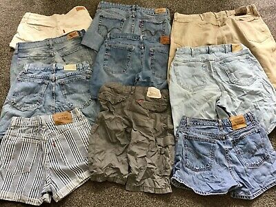 Job Lot 20 Pairs Of Vintage Shorts,Levi,Wrangler,Lee,Mixed Sizes,Styles,Brands