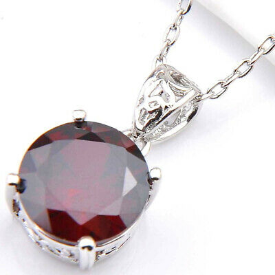 Unique Round Cut Fire Red Garnet Gemstone Silver Necklace Pendant With Chain