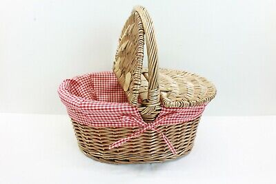 Brown Wicker Picnic Basket Red Chequered Liner By All Chic