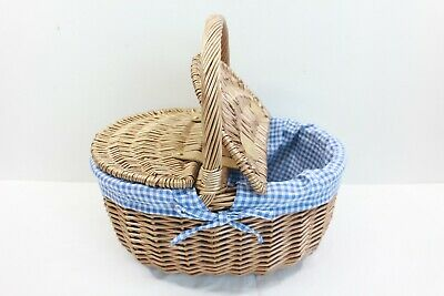 Brown Wicker Picnic Basket Blue Chequered Liner By All Chic