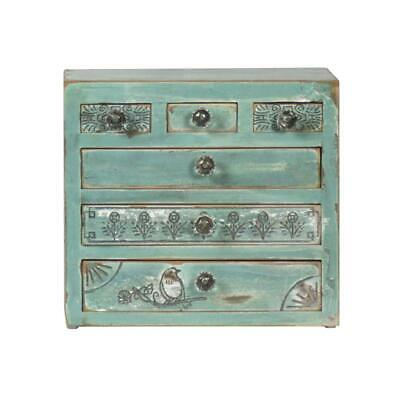 Kasandra Wooden Turquoise Colour Mini Chest Of Drawers 6 Drawers Antique