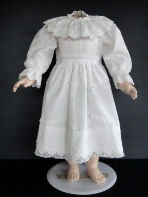 Dress Cotton White for Doll Old 55 cm - Doll Dress Made in France