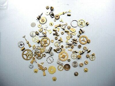 Job Lot of Vintage CLOCK Watch Parts Knobs Gears ART Steampunk Repair RESTORE a