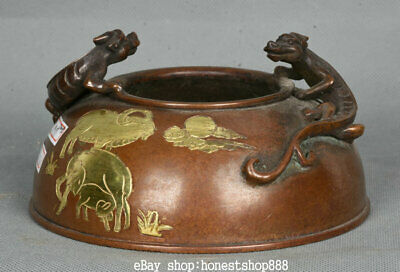 """5.6"""" Marked Old Chinese Red Copper Gold Sheep 2 Pixiu Beast Ear Incense Burner"""