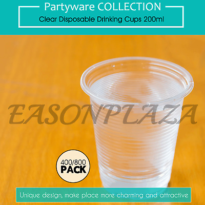 Clear Disposable Plastic Drinking Cups Glasses 200ml Party Wedding Event BULK