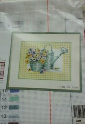 Lanarte  Cross stitch printed canvas Can with Pansies 41089 OOP