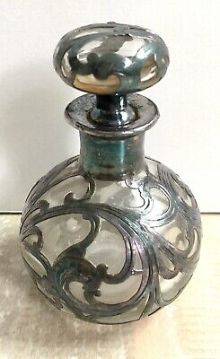 Antique Victorian Sterling Silver Wrapped Glass Overlay Perfume Bottle & Stopper