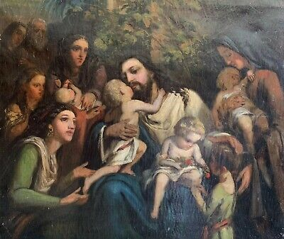 Very Large 19Th Century German Oil Painting - Christ With Crowd Of Children