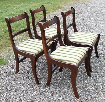 Vintage Set of Four Dining Chairs ~ Regency Stripe Upholstery