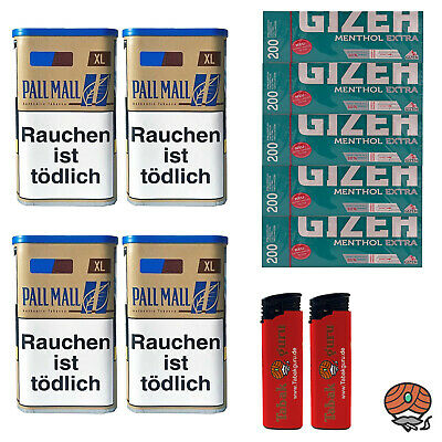 4x Pall Mall Authentic Blue/Blau Tabak Dose 65g,Gizeh Menthol Extra Hülsen