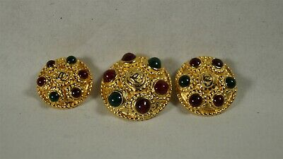 Set of 3 Authentic CHANEL Red & Green Gripoix on Gold CC 16, 17 & 20mm Buttons