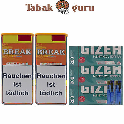 2x Break Orange Dosen Volumentabak, 600 Gizeh Menthol Extra Hülsen, 2 Feuerzeuge