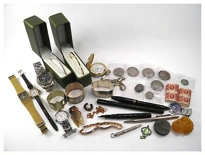 Vintage Junk Drawer Job Lot collectables silver jewellery pens coins watches