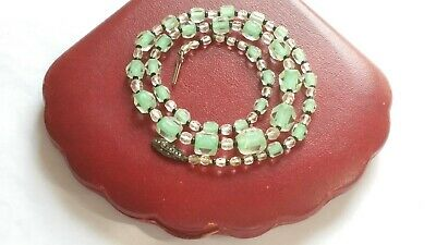 Vintage Art Deco Mint Green/Clear Cuboid Glass Bead Necklace 935 Silver Clasp