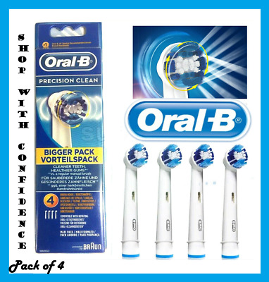 *Braun Oral-B Precision Clean Electric Toothbrush Replacement Brush Heads x 4
