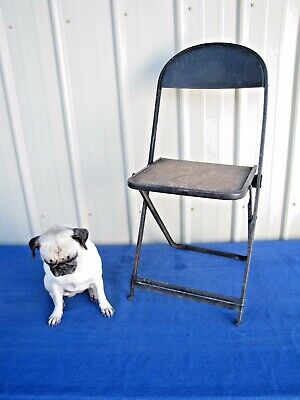 Vintage Antique Metal Wood Folding Chair