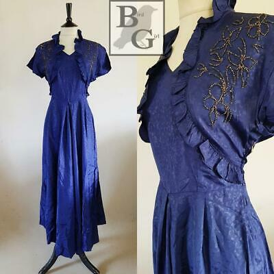 Original Wartime Ww2 1940S Vintage Blue Seed Bead Evening Long Dress 10 S