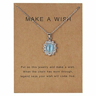 Paper Card  Women Flower Stone Silver Crystal Pendant Necklace Chain Jewelry New