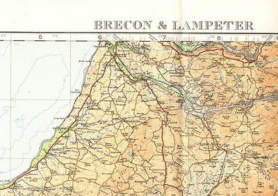 Ordnance Survey 2 miles to 1 inch original antique map Brecon & Lampeter 1913