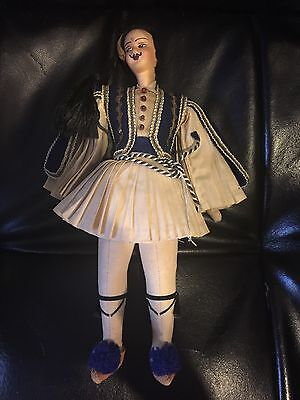 Vintage Greek Guard Cloth Folk Male Doll Pleated Skirt Hand Painted Unique