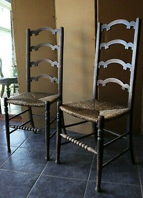 Good Quality Pair Of Georgian Lancashire Ladder Back Rush Seat Elm Chairs