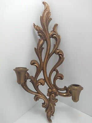 """Vtg Syroco Wood Ornate 2-Candle Holder Gold Wall Sconce 17"""" Tall Regency Style"""