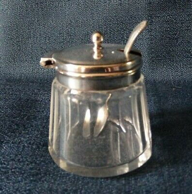 Used fluted glass and marked silver plate mustard pot with spoon