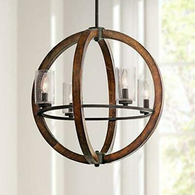 LED Wooden Globe Chandelier Antique Pendant Lighting Vintage Glass Ceiling Lamp